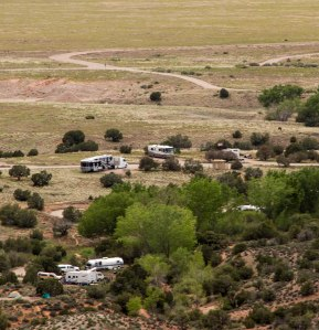 Fred (our RV) in middle at Moab