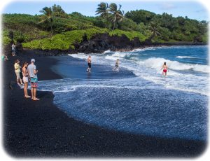 Black sand beach near Hana