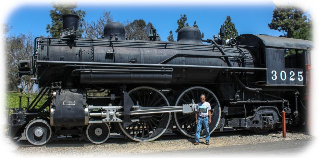 Randy with 4-4-0 Steam Locomotive