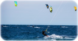 Kiteboarders and Windsurfers