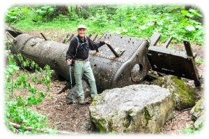 Kicking Horse campground trail to discarded engine used in construction
